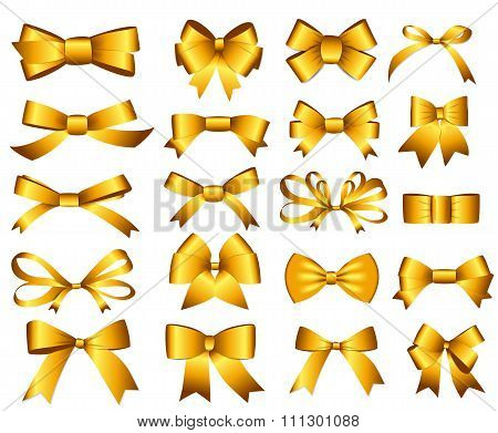 Gold Ribbon and Bow Set for Your Design. Vector illustration