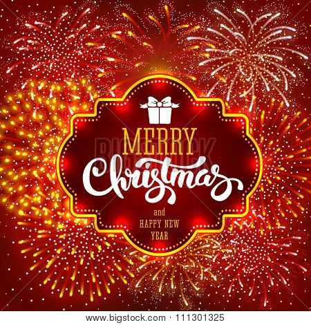 Festive firework bursting in various shapes and red colors sparkling on red background. Calligraphy inscription Merry Christmas in luminous frame. Vector illustration.