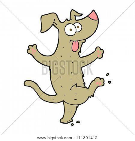 freehand drawn cartoon dancing dog