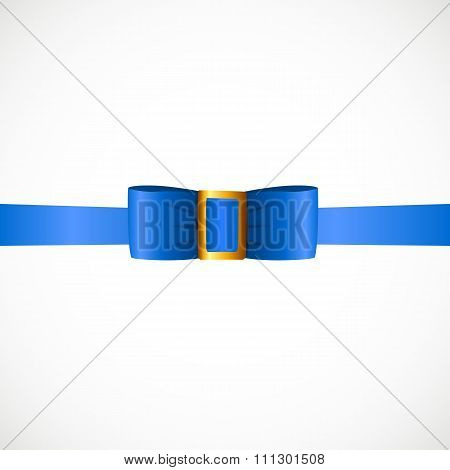Gift Card with Bue Ribbon and Bow. Vector illustration