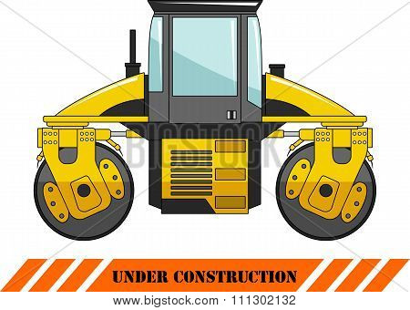 Compactor. Heavy construction machine. Vector illustration