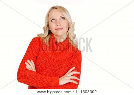 Young attractive blonde woman thinking