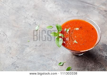 Gazpacho summer soup in glass
