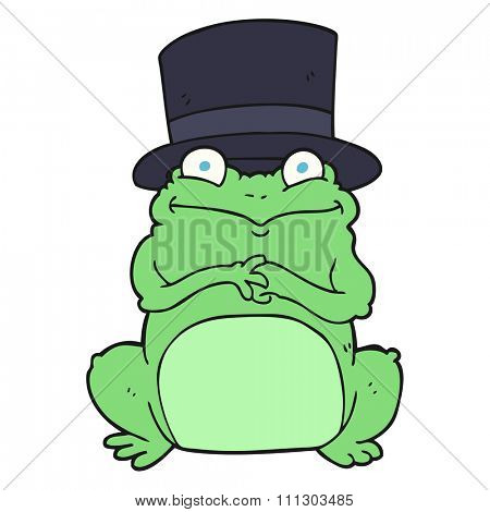 freehand drawn cartoon frog in top hat