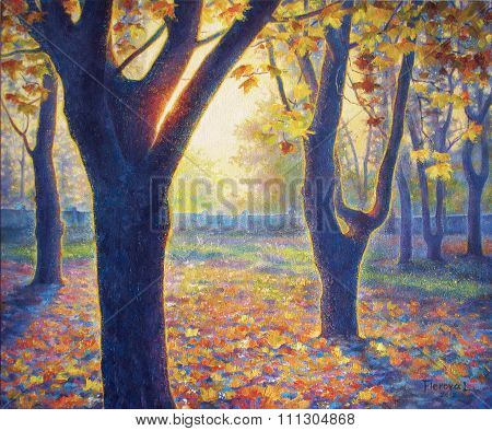 Oil Painting On Canvas. Park In The Fall. Autumn Trees.