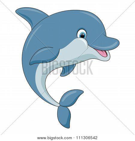 Cute cartoon dolphin. Vector illustration.