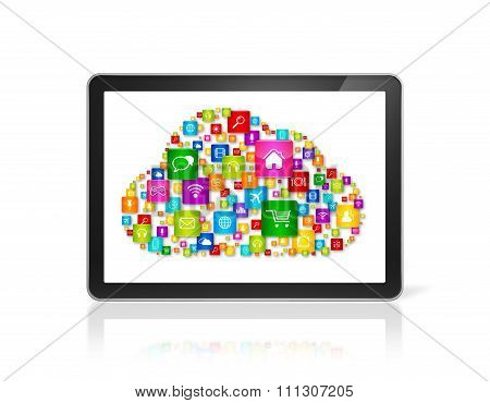 Cloud Computing Symbol In Tablet Pc Computer