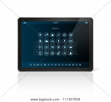 Tablet Pc With Apps Icons Interface