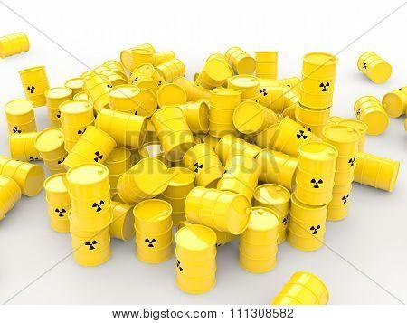 3d pile of radioactive waste barrel
