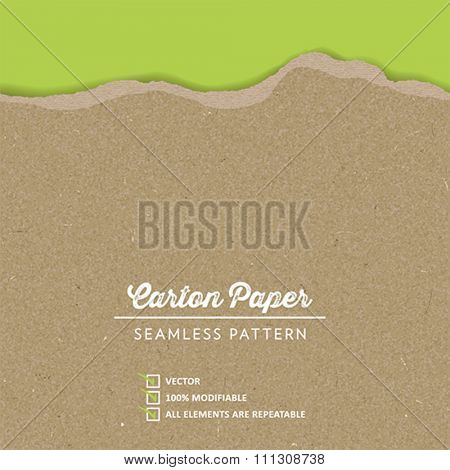 Vector Carton Paper Texture with a continuous torn edge