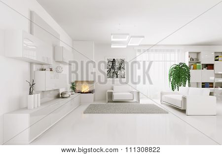 White Living Room Interior 3D render