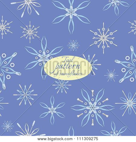 pattern with snowflakes from tools