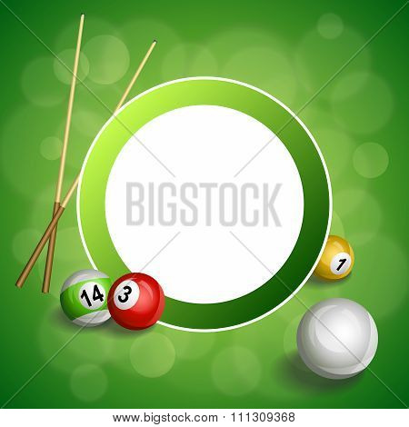 Background abstract green billiard pool cue red ball circle frame illustration vector