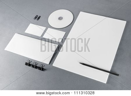Blank Stationery On Gray
