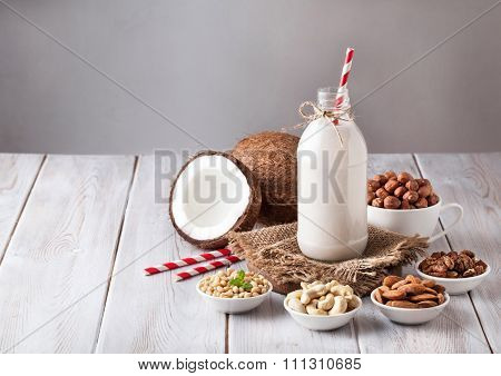 Vegan Nut Milk In The Bottle