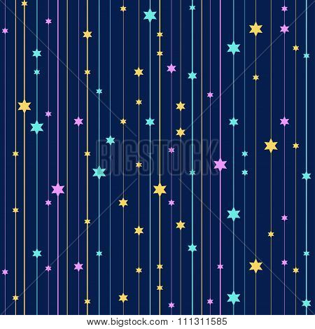Seamless vector background with colorful stars