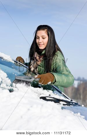 Winter Car - Woman Remove Snow From Windshield
