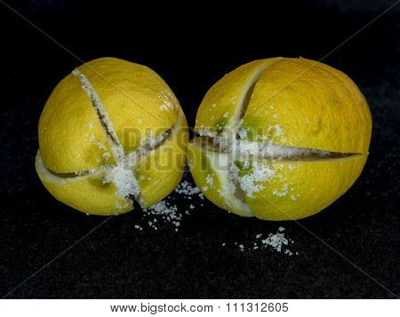 Two Salted Lemons Ready To Preserve