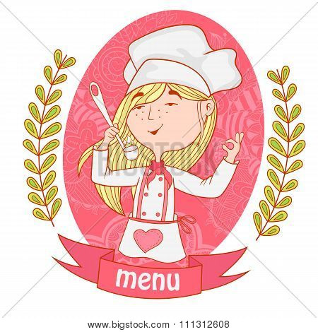 Cute Girl Chef Cook With A Ladle. Menu.
