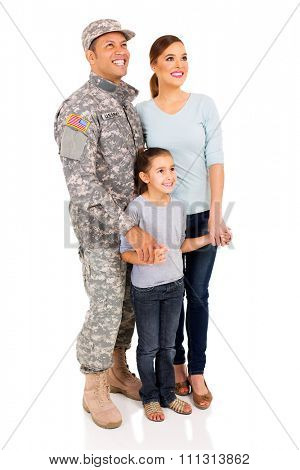 american military family looking up