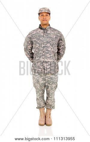 happy military soldier standing on white background