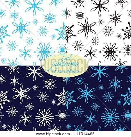patterns with snowflakes from tools