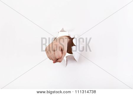 Direct View Of The Fist Breaks A Paper