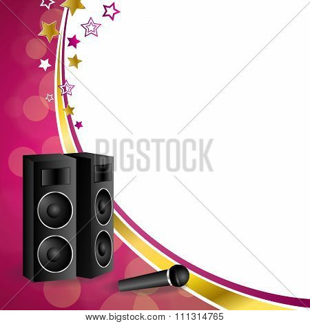 Background abstract karaoke microphone loudspeaker star pink yellow gold ribbon frame illustration