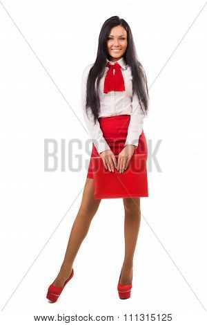 Happy Business Woman In Red Skirt