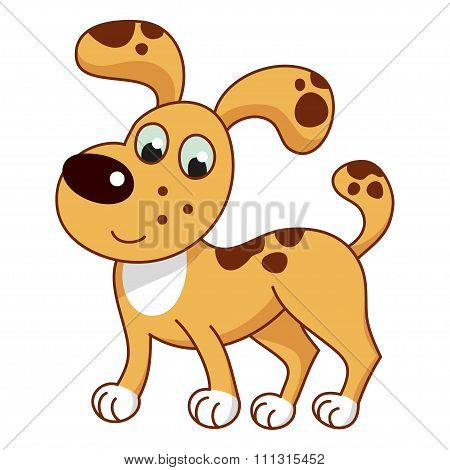Cartoon smiling light ginger spotty puppy, cute naughty dog