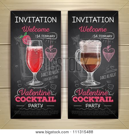 Chalk Drawing Cocktail Valentine Party Poster