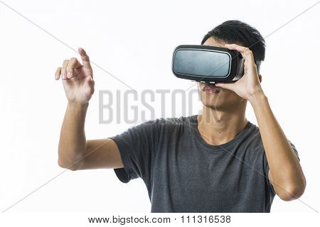 man using the virtual reality headset on white background