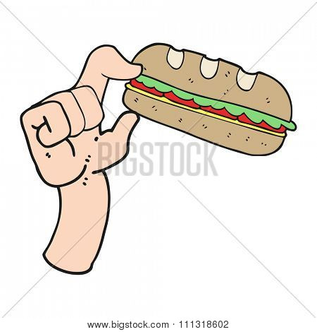 freehand drawn cartoon sub sandwich