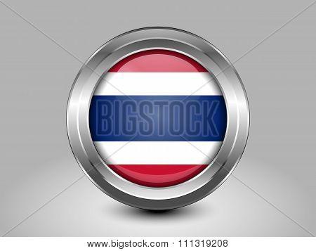 Flag Of Thailand. Metal Round Icon