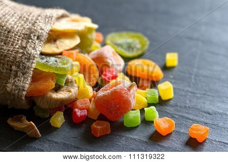 Candied dried mixed assortment of exotic fruits