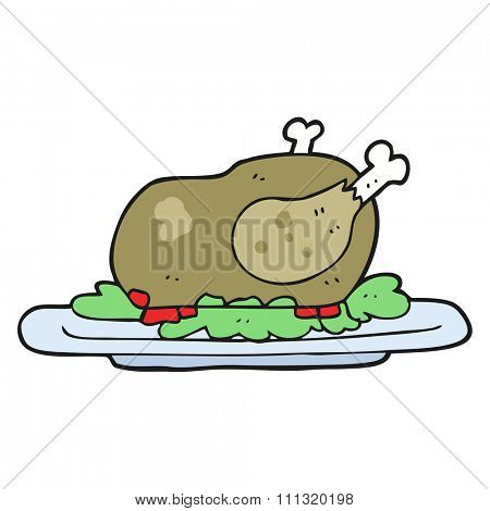 freehand drawn cartoon cooked turkey