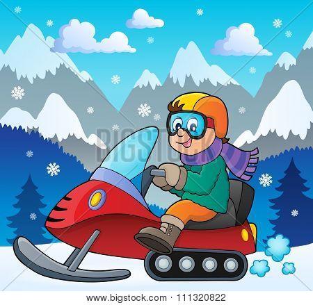 Snowmobile theme image 2 - eps10 vector illustration.