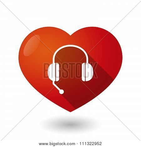 Isolated Red Heart With  A Hands Free Phone Device