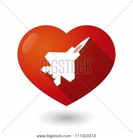 Isolated Red Heart With A Combat Plane