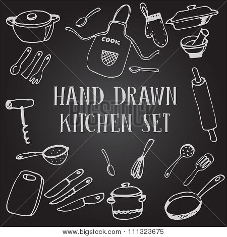 Set chalk drawing kitchen