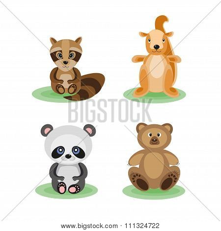 Set of funny little animals forest
