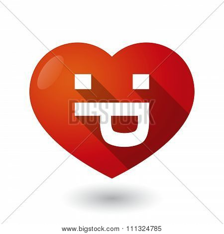 Isolated Red Heart With A Sticking Out Tongue Text Face