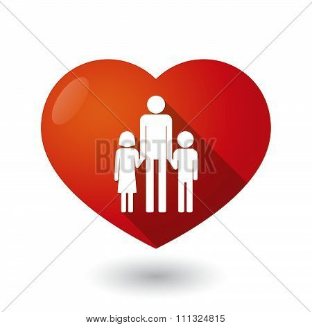 Isolated Red Heart With A Male Single Parent Family Pictogram