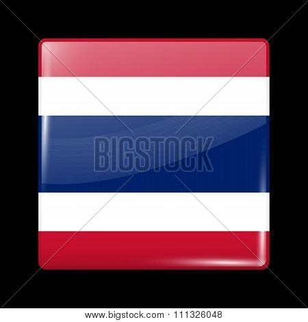 Flag Of Thailand. Glassy Icon Square Shape