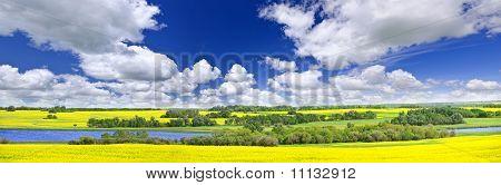 Panorama de la pradera en Saskatchewan, Canadá
