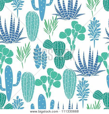 Succulents plant vector seamless pattern. Botanical blue and green cactus flora fabric print.