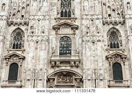 Famous Milan Cathedral is the fifth largest cathedral in the world. Detail of the front. Milan, Italy