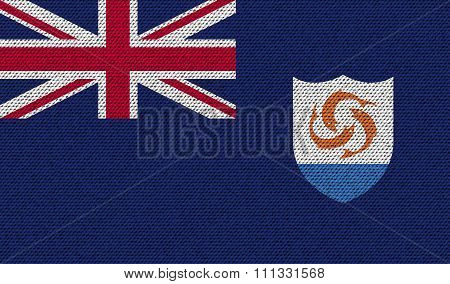 Flags Anguilla On Denim Texture.