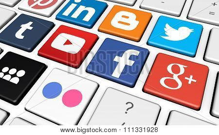 Social Media Logotype On Keyboard