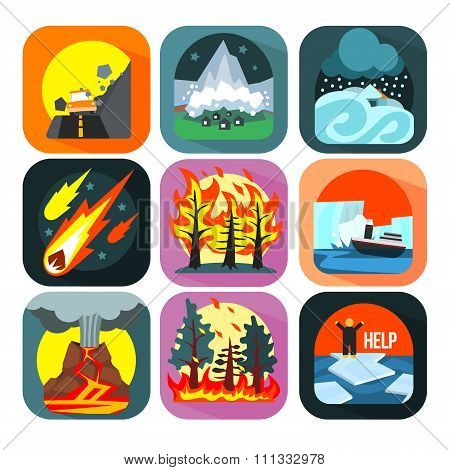Natural disaster catastrophe and crisis flat set vector